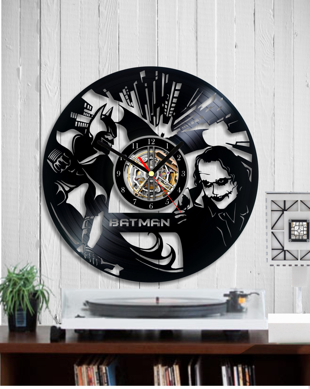 Indigovento vinyl clock on the wall of vinyl record recycled vinyl clock batman and joker amipublicfo Gallery