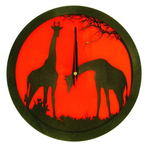 wood-clock-africa-giraffe