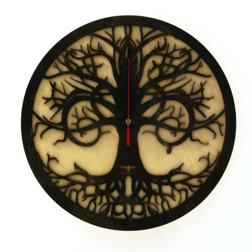 wood-clock-tree-reflection