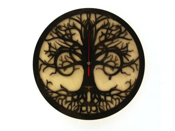 wood-clock-tree-reflection