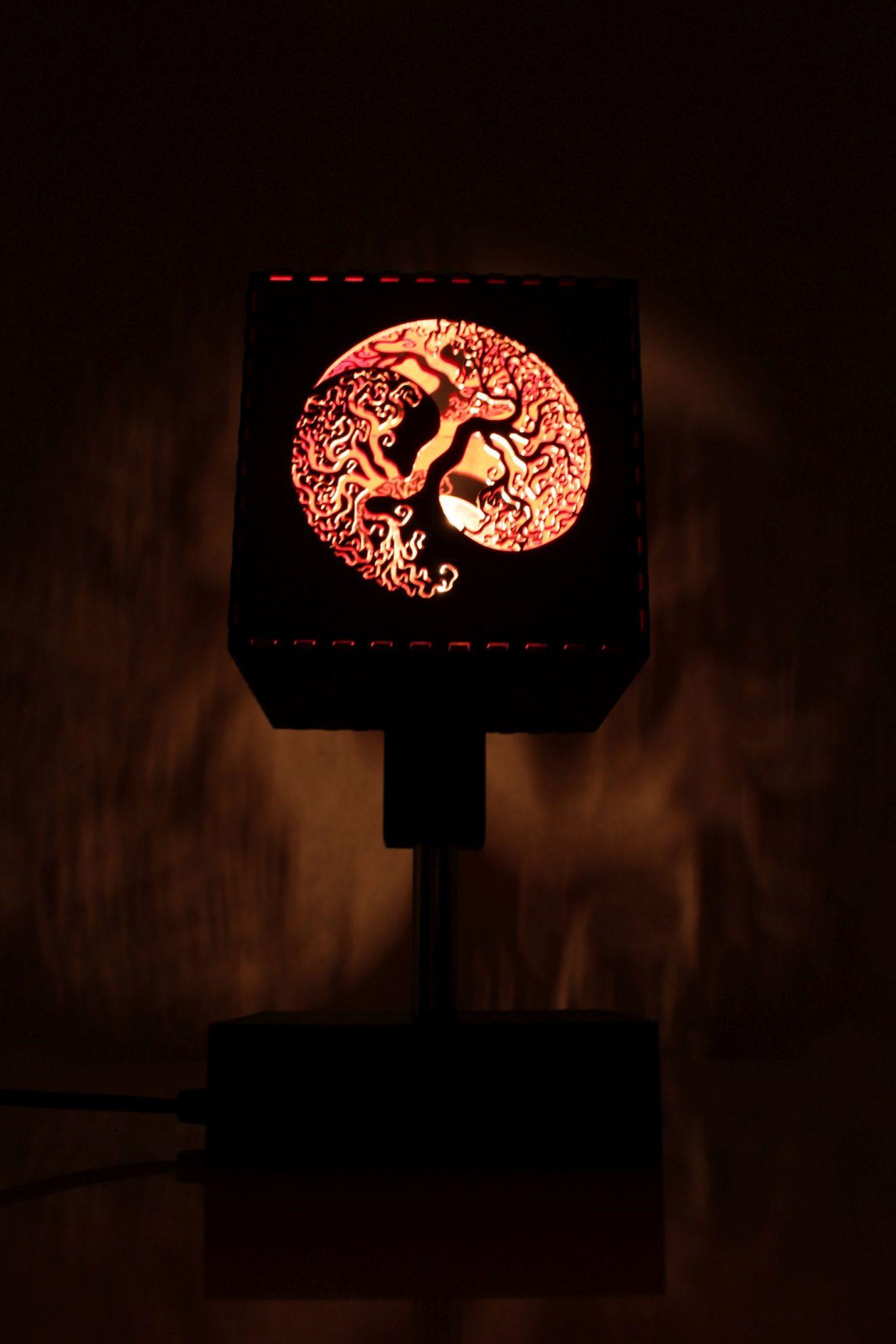 Wooden Lamp Tree Jing Jang Indigovento