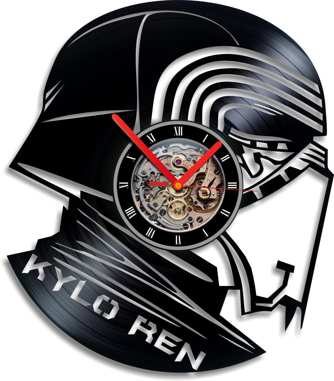 Vinyl Record Clock Wall Kylo Ren Indigovento