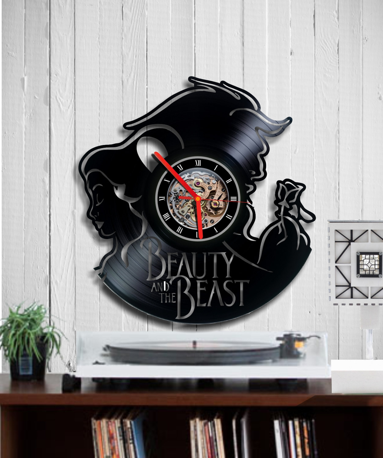 The Beauty And The Beast Clock Gift Record Wall Clock Indigovento