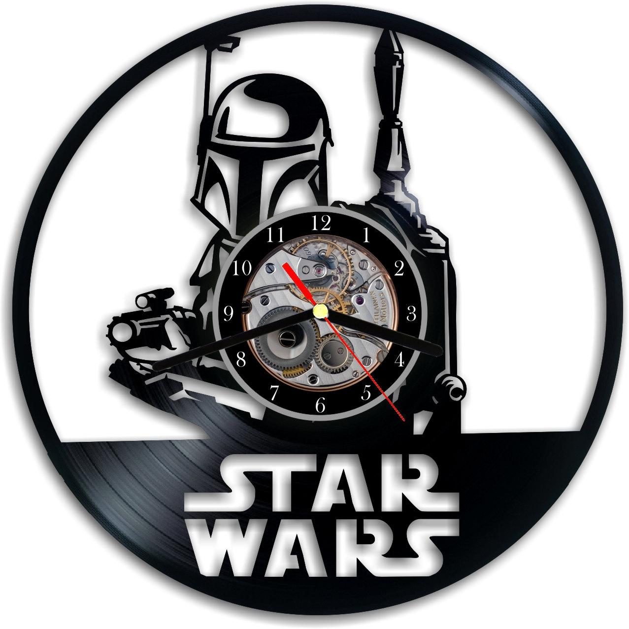 Vinyl Clock Boba Fett Star Wars Vinyl Clock Wall Clock