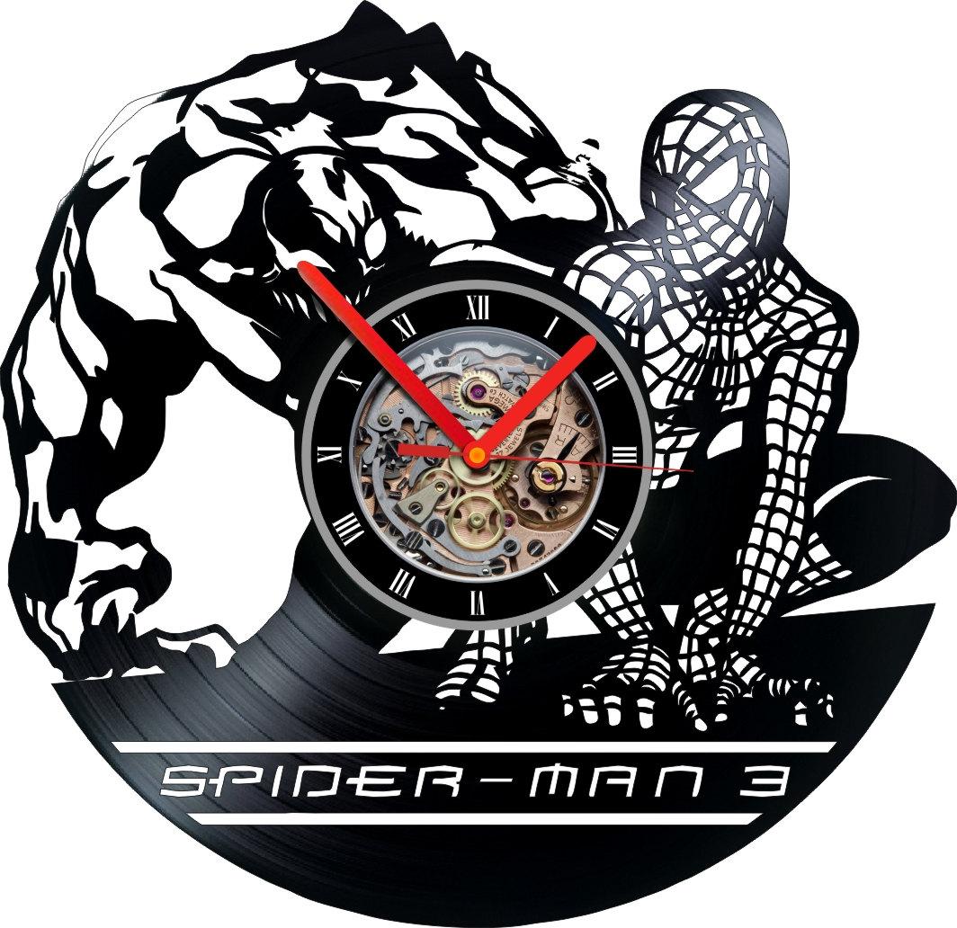 Vinyl Clock Spider Man 3 Wall Decor Handmade Art Modern