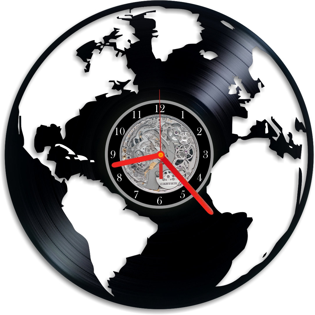 Vinyl Clock Wall World Map Indigovento