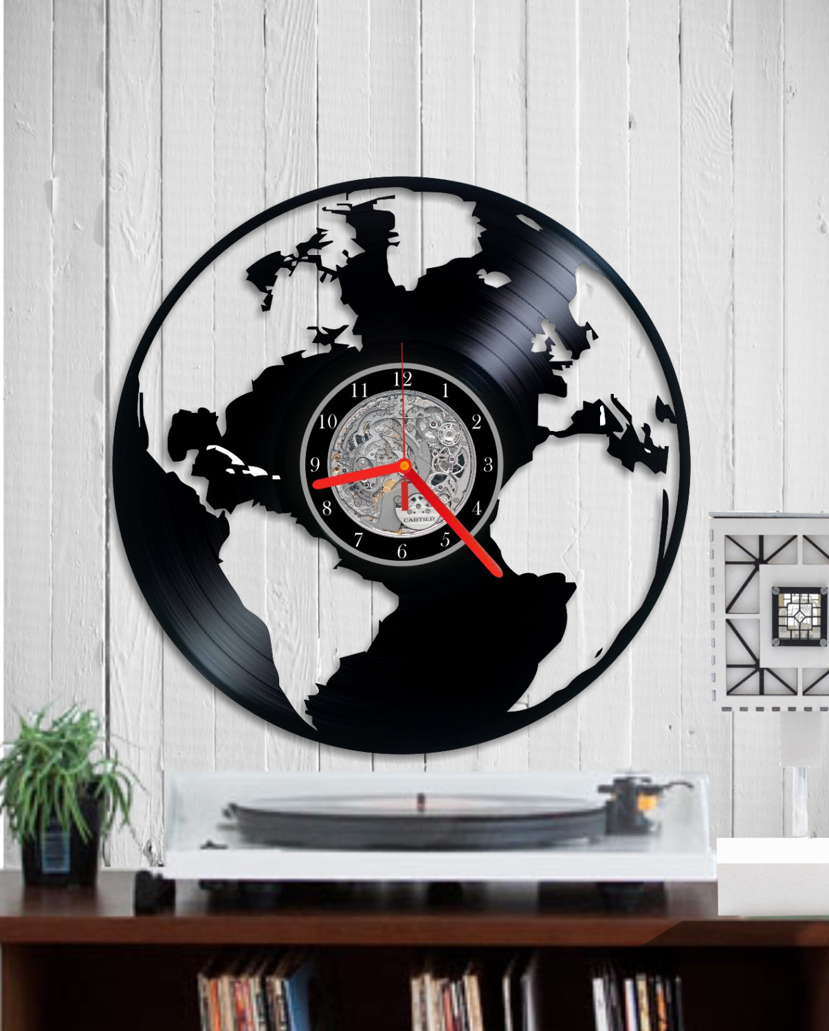 Vinyl clock wall world map indigovento vinyl clock world map gumiabroncs Image collections